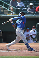 Jorbit Vivas (14) of the Rancho Cucamonga Quakes bats against the Inland Empire 66ers at San Manuel Stadium on May 9, 2021 in San Bernardino, California. (Larry Goren/Four Seam Images)
