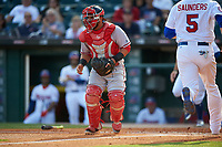 Syracuse Chiefs catcher Jhonatan Solano (4) waits for a throw during a game against the Buffalo Bisons on July 3, 2017 at Coca-Cola Field in Buffalo, New York.  Buffalo defeated Syracuse 6-2.  (Mike Janes/Four Seam Images)