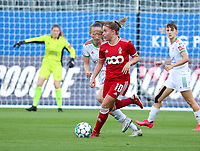 Sari Kees (2) of OHL and Davinia Vanmechelen (10) of Standard  in action during a female soccer game between Oud Heverlee Leuven and Standard Femina de Liege on the third matchday of the 2021 - 2022 season of Belgian Womens Super League , Sunday 5 th of September 2021  in Leuven , Belgium . PHOTO SPORTPIX.BE | SEVIL OKTEM
