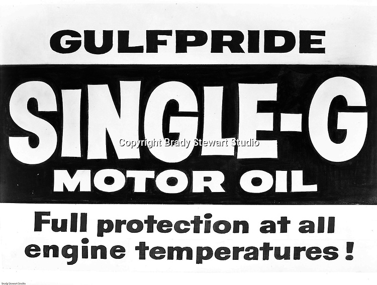 Client: Gulf Oil Company<br /> Art Studio: Huot Studio<br /> Product: Gulfpride Single-G Motor Oil<br /> Location: Brady Studio Studio, 725 Liberty Avenue in Pittsburgh<br /> <br /> Founded by William Mellon in 1909, Gulf Oil remains one of the most well known Oil Company brands in the world. Gulfpride was first marketed in 1920 and remains one of Gulf's most recognized brands today.<br /> <br /> December 2013 marked the 100th anniversary of Gulf opening the first drive-in service station in Pittsburgh, PA. Before this, drivers got their gas at places like general stores, pharmacies, hardware shops, and even blacksmiths.