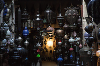 Lanterns for sale in the souk at Marrakech, Morocco
