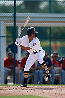 GCL Pirates Jasiah Dixon (24) at bat during a Gulf Coast League game against the GCL Twins on August 6, 2019 at Pirate City in Bradenton, Florida.  GCL Twins defeated the GCL Pirates 4-2 in the first game of a doubleheader.  (Mike Janes/Four Seam Images)