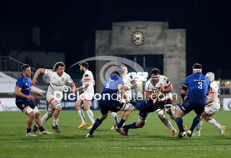 6 March 2021; Marcell Coetzee of Ulster is tackled by Rhys Ruddock during the Guinness PRO14 match between Ulster and Leinster at Kingspan Stadium in Belfast. Photo by John Dickson/Dicksondigital