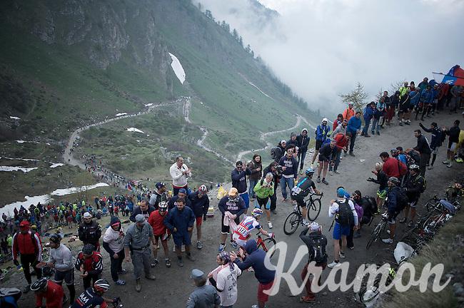 Vasil Kiryienka (BLR/SKY) & Sergey Chernetckii (RUS/Katusha) up the dirt roads of the Colle delle Finestre (2178m)<br /> <br /> Giro d'Italia 2015<br /> stage 20: Saint Vincent - Sestriere (199km)