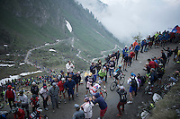 Vasil Kiryienka (BLR/SKY) & Sergey Chernetckii (RUS/Katusha) up the dirt roads of the Colle delle Finestre (2178m)<br /> <br /> Giro d'Italia 2015<br /> stage 20: Saint Vincent - Sestriere (199km)