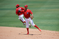 Clearwater Threshers shortstop Arquimedes Gamboa (7) throws to first base during a game against the Lakeland Flying Tigers on May 2, 2018 at Spectrum Field in Clearwater, Florida.  Clearwater defeated Lakeland 7-5.  (Mike Janes/Four Seam Images)