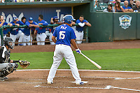 Luis Paz (15) of the Ogden Raptors at bat against the Grand Junction Rockies in Pioneer League action at Lindquist Field on August 26, 2016 in Ogden, Utah. The Raptors defeated the Rockies 6-5. (Stephen Smith/Four Seam Images)