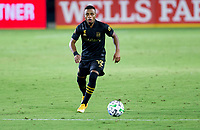 CARSON, CA - SEPTEMBER 06: Diego Palacios #12 of the LAFC dribbles with the ball during a game between Los Angeles FC and Los Angeles Galaxy at Dignity Health Sports Park on September 06, 2020 in Carson, California.