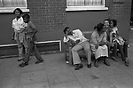 Notting Hill west London 1980s UK. daily life people hanging out 1981