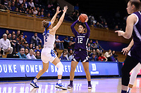 DURHAM, NC - NOVEMBER 17: Veronica Burton #12 of Northwestern University is defended by Haley Gorecki #2 of Duke University during a game between Northwestern University and Duke University at Cameron Indoor Stadium on November 17, 2019 in Durham, North Carolina.