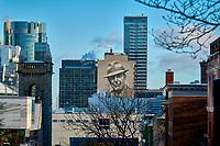 La murale representant  Leonard Cohen et son chapeau, au centre-ville de<br /> Montreal,Canada<br /> <br /> 2019<br /> <br /> PHOTO : Pierre Tran - AQP