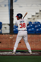 Danville Braves designated hitter Justin Smith (38) at bat during a game against the Johnson City Cardinals on July 29, 2018 at TVA Credit Union Ballpark in Johnson City, Tennessee.  Johnson City defeated Danville 8-1.  (Mike Janes/Four Seam Images)
