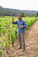 Christophe Peyrus Domaine Clos Marie. Pic St Loup. Languedoc. Experimental vineyard with 9000 vines per hectare. Owner winemaker. France. Europe. Vineyard.
