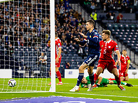 4th September 2021; Hampden Park, Glasgow, Scotland: FIFA World Cup 2022 qualification football, Scotland versus Moldova: Lyndon Dykes of Scotland taps in and scores the opening goal in the 14th minute
