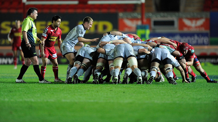 The packs scrum down during the LV= Cup first round match between Scarlets and Leicester Tigers at Parc y Scarlets (Photo by Rob Munro, Fotosports International)