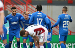 07.02.2021 Hamilton v Rangers: Borna Barisic takes the acclaim after putting in cross for Hamilton's OG