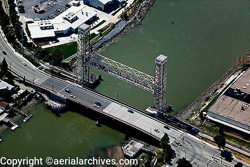 aerial photograph High Street draw bridge Oakland, California