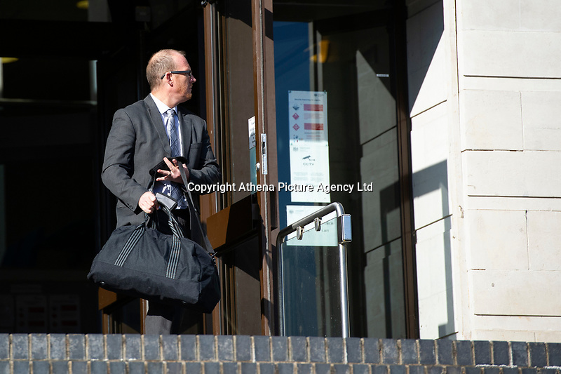 """Pictured: Kevin Thomas leaves Newport Crown Court, Wales, UK. Monday 29 October 2018<br /> Re: Head teacher Kevin Thomas has been sentenced for sexually assaulting a woman in his office at a Cardiff primary school.<br /> 46 year old Thomas, of Cardiff, attacked the woman after becoming """"infatuated"""" with her, the Crown Court heard.<br /> Thomas, a married father of two, was cleared of one count of assault but found guilty of another. <br /> He was suspended from his job at Glan-yr-Afon Primary school in, Cardiff, in March 2017 after the allegations.<br /> The court had previously heard how he had emailed the woman repeatedly expressing his feelings for her."""