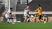 Wolverhampton Wanderers' Nelson Semedo (right) battles with Fulham's Antonee Robinson (left) and Joe Bryan (centre)<br /> <br /> Photographer David Horton/CameraSport<br /> <br /> The Premier League - Wolverhampton Wanderers v Fulham - Sunday 4th October 2020 - Molineux Stadium - Wolverhampton<br /> <br /> World Copyright © 2020 CameraSport. All rights reserved. 43 Linden Ave. Countesthorpe. Leicester. England. LE8 5PG - Tel: +44 (0) 116 277 4147 - admin@camerasport.com - www.camerasport.com
