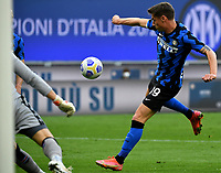Inter Milan's Andrea Pinamonti prepares to kick to score during the Italian Serie A football match between Inter Milan and Sampdoria at Milan's Giuseppe Meazza stadium, May 8, 2021.<br /> UPDATE IMAGES PRESS/Isabella Bonotto