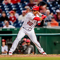 26 September 2018: Washington Nationals outfielder Juan Soto at bat in the 6th inning against the Miami Marlins at Nationals Park in Washington, DC. The Nationals defeated the visiting Marlins 9-3, closing out Washington's 2018 home season. Mandatory Credit: Ed Wolfstein Photo *** RAW (NEF) Image File Available ***