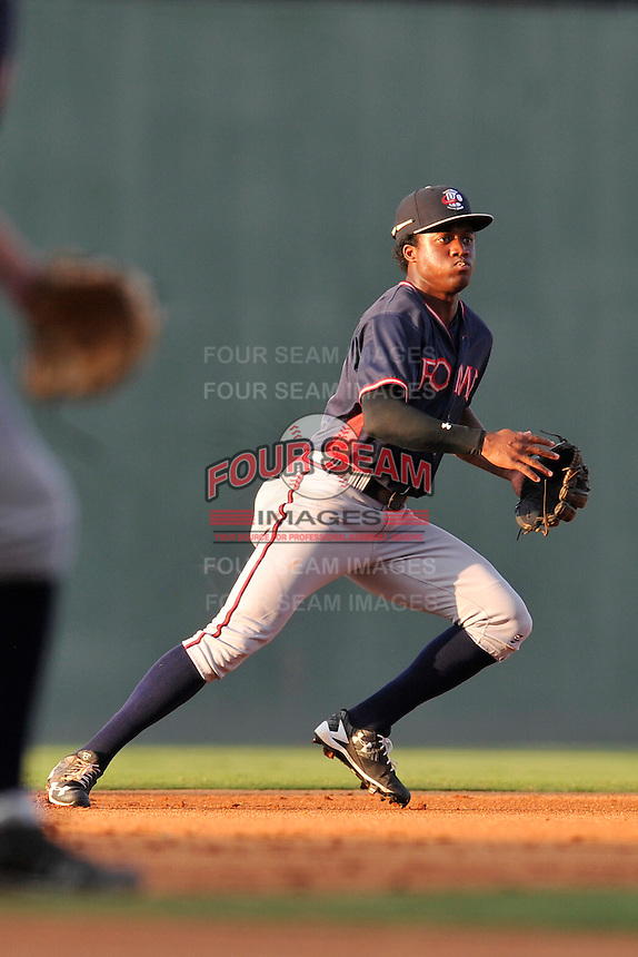 Shortstop Anfernee Seymour (27) of the Rome Braves plays defense in a game against the Greenville Drive on Tuesday, August 30, 2016, at Fluor Field at the West End in Greenville, South Carolina. Greenville won, 7-3. (Tom Priddy/Four Seam Images)