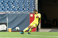 FOXBOROUGH, UNITED STATES - MAY 28: Earl Edwards Jr. #90 of New England Revolution II takes a goal kick during a game between Fort Lauderdale CF and New England Revolution II at Gillette Stadium on May 28, 2021 in Foxborough, Massachusetts.
