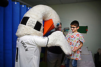 Thursday 21 December 2017<br /> Pictured: Cyril the Swan<br /> Re: Swansea City Childrens Ward Visit, Morriston Hospital, Swansea, Wales, UK