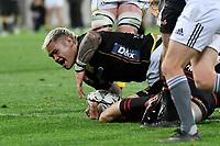 Alex Fidow of Wellington scores a try during the Bunnings NPC - Wellington v Canterbury at Sky Stadium, Wellington, New Zealand on Friday 8 October 2021.<br /> Photo by Masanori Udagawa. <br /> www.photowellington.photoshelter.comto