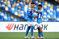 Jose Callejon of Napoli celebrates with  Lorenzo Insigne<br /> during the Serie A football match between SSC  Napoli and SPAL at stadio San Paolo in Naples ( Italy ), June 28th, 2020. Play resumes behind closed doors following the outbreak of the coronavirus disease. <br /> Photo Cesare Purini / Insidefoto