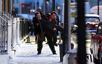 Pictured: Elijah Wood is lifted by Celyn Jones while rehearsing a scene. Tuesday 11 February 2014<br />