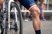 spanish national champion Alejandro Valverde's (ESP/Movistar) knee at the race start in Clermont-Ferrand<br /> <br /> Stage 1: Clermont-Ferrand to Saint-Christo-en-Jarez (218km)<br /> 72st Critérium du Dauphiné 2020 (2.UWT)<br /> <br /> ©kramon