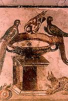 Roman Art:  Mosaic--Birds and Birdbath.  National Museum, Naples.