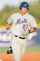 Jeff Flagg #27 of the Kingsport Mets rounds the bases after hitting a home run in the 5th inning at Burlington Athletic Park July 3, 2009 in Burlington, North Carolina. (Photo by Brian Westerholt / Four Seam Images)