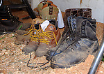 Workboots at rest in barn at Cheshire Fair in Swanzey, New Hampshire USA
