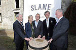 "US Ambassador Kevin F. O'Malley, Brooke Brown Barzun Brown-Forman Corporation, Henry Conyngham, the eighth Marquess Conyngham, Alex Conyngham, Earl of Mount, Charles Brown-Forman executive vice president and chief brands & strategy officer Lawson Whiting at the ground breaking for the new $50 Million Slane Distillery on the grounds of Slane Castle.<br /> Picture Fran Caffrey /Newsfile.ie<br /> <br /> BROWN-FORMAN BREAKS GROUND ON<br /> NEW $50 MILLION SLANE DISTILLERY<br /> <br /> US Ambassador joins Conyngham and Brown families for historic occasion<br /> <br /> Distillery and Visitor Centre to be completed late 2016<br /> <br /> The US Ambassador to Ireland, Kevin F. O'Malley, was guest of honour today at the official ground breaking ceremony for the $50 million (approximately €44 million) Slane Distillery on the historic Slane Castle Estate in Co. Meath, home of Henry Conyngham, the eighth Marquess Conyngham, and his son Alex Conyngham, Earl of Mount Charles.<br />  <br /> The distillery, which will also include a Visitor Centre, is being built by leading US Drinks firm Brown-Forman Corporation, the owners of Jack Daniel's, Southern Comfort and Woodford Reserve which bought all shares of Slane Irish Whiskey Company from the Conyngham family earlier this year.  The Conynghams remain centrally involved in the development of the new distillery and the new whiskey brands which will be introduced in early 2017. <br />  <br /> This is the first new distillery Brown-Forman has built outside of the US and represents its entry into distilling Irish whiskey, one of the fastest growing spirits categories over the last few years.  When completed by the end of 2016, Slane Distillery will create nearly 25 new full-time jobs while the construction process will support approximately 80 jobs.  The Slane Distillery and Visitor Centre will be a welcome new attraction to the Boyne Valley tourism trail.<br />  <br /> The US Ambassador signed the first cask that will be filled with whiskey from the distillery and commented on the significance of the occasion, ""There ar"