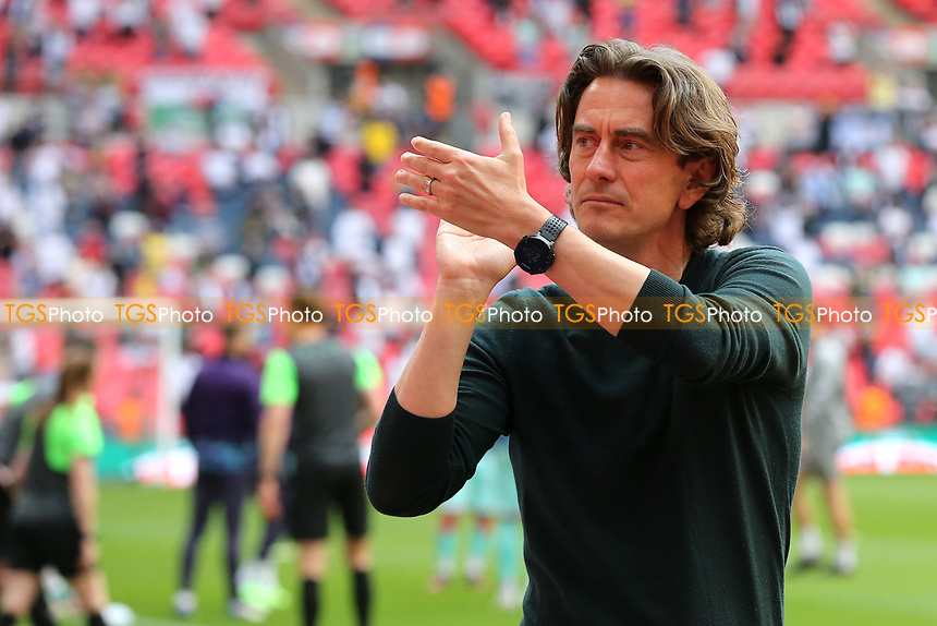 Brentford Manager, Thomas Frank, applauds the Bees fans ahead of kick-off during Brentford vs Swansea City, Sky Bet EFL Championship Play-Off Final Football at Wembley Stadium on 29th May 2021
