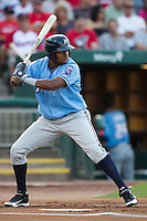 Jorge Bonifacio (16) of the Northwest Arkansas Naturals stands at bat during a game against the Springfield Cardinals at Hammons Field on August 23, 2013 in Springfield, Missouri. (David Welker/Four Seam Images)