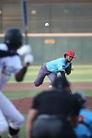 Marcos Tineo  (12) of the los Toros de Visalia pitches against the Cucuys de San Bernardino at San Manuel Stadium on July 11, 2021 in San Bernardino, California. (Larry Goren/Four Seam Images)