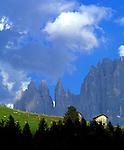 Italy, South Tyrol, Alto Adige, Dolomites,  alpine pasture, Torri del Vajolett and Cima Catinaccio mountain range