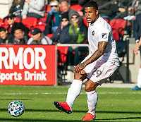WASHINGTON, DC - MARCH 07: Roman Torres #29 of Inter Miami makes a pass during a game between Inter Miami CF and D.C. United at Audi Field on March 07, 2020 in Washington, DC.