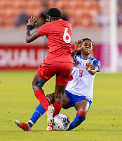 HOUSTON, TX - FEBRUARY 3: Maria Murillo #6 of Panama collides with Chelsea Surpris #3 of Haiti during a game between Panama and Haiti at BBVA Stadium on February 3, 2020 in Houston, Texas.