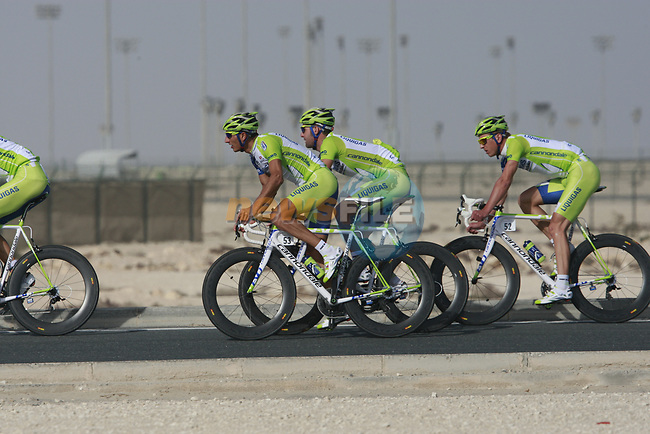 Liquigas-Cannondale team warms up before the 2nd Stage of the 2012 Tour of Qatar an 11.3km team time trial at Lusail Circuit, Doha, Qatar. 6th February 2012.<br /> (Photo Eoin Clarke/Newsfile)