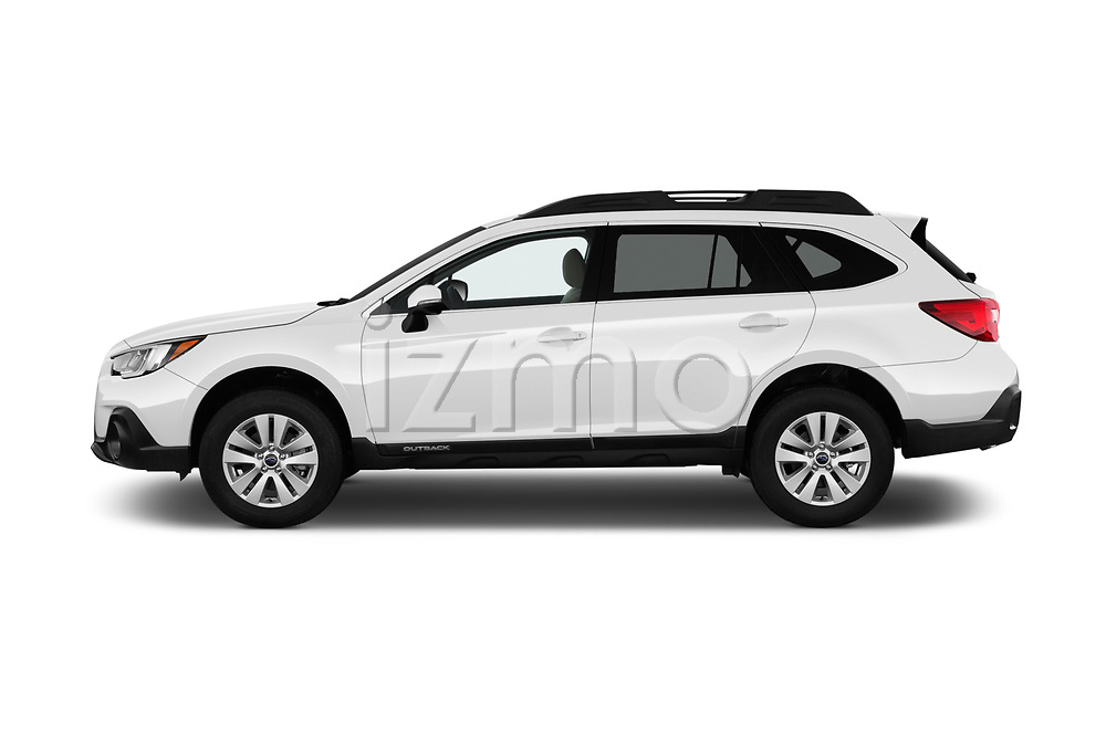 Car driver side profile view of a 2018 Subaru Outback Premium 5 Door Wagon