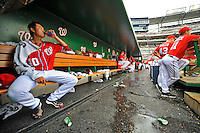 24 September 2011: Washington Nationals pitcher Chien-Ming Wang hydrates in the dugout during a game against the Atlanta Braves at Nationals Park in Washington, DC. The Nationals defeated the Braves 4-1 to even up their 3-game series. Mandatory Credit: Ed Wolfstein Photo