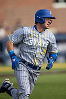 San Jose State Spartans third baseman Troy Viola (8) runs to first base against the Michigan Wolverines on March 27, 2019 in Game 1 of the NCAA baseball doubleheader at Ray Fisher Stadium in Ann Arbor, Michigan. Michigan defeated San Jose State 1-0. (Andrew Woolley/Four Seam Images)