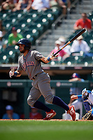Lehigh Valley IronPigs Ali Castillo (3) hits a single during an International League game against the Buffalo Bisons on June 9, 2019 at Sahlen Field in Buffalo, New York.  Lehigh Valley defeated Buffalo 7-6 in 11 innings.  (Mike Janes/Four Seam Images)