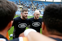 Photo: Richard Lane/Richard Lane Photography. Wasps v Harlequins. Gallagher Premiership. 17/05/2019. Wasps' Elliot Daly and Joe Simpson ahead of their final game for the club.