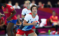 25 JUL 2012 - LONDON, GBR - Marie Gerbron (GBR) of Great Britain prepares to take a 7m throw during the women's London 2012 Olympic Games warm up handball match against Spain at The Copper Box in the Olympic Park, in Stratford, London, Great Britain .(PHOTO (C) 2012 NIGEL FARROW)