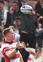 24th September 2021;  Kingsholm Stadium, Gloucester, England; Gallaher Premiership Rugby, Gloucester Rugby versus Leicester Tigers: Jack Clement of Gloucester celebrates scoring a try